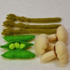 Felt Food Asparagus, Mushrooms, Sweet Peas Children's Play Food. $22.00, via Etsy.