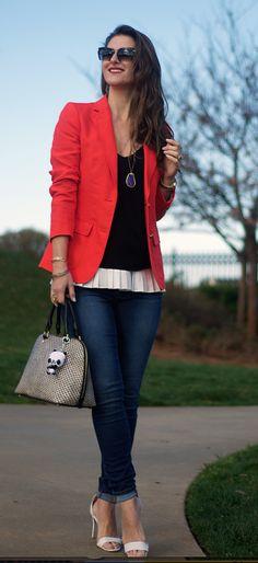 Teodora's Lookbook spring outfit - red blazer, dark denim, black and white top