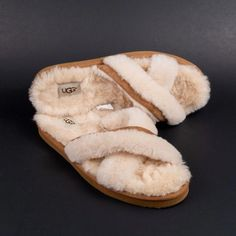 49e44e4338 Womens Ugg Abela Slippers Criss Cross Faux Fur 1017548 Natural Tan Cream  Size 10  fashion  clothing  shoes  accessories  womensshoes  slippers (ebay  link)   ...