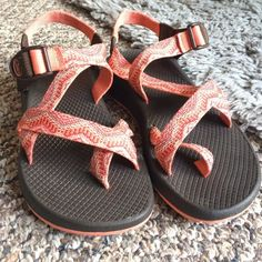 Never worn Chacos Pink and orange kinda tribal pattern, never wore them before because it has been snowing here, trying to trade for Birks. Love the brand , love these shoes. But I already I have another pair I don't want to give up on  Chacos Shoes Sandals
