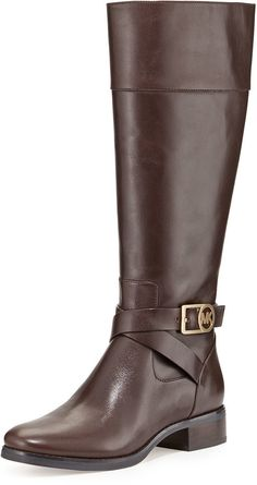 MICHAEL Michael Kors Bryce Leather Riding Boot, Dark Chocolate