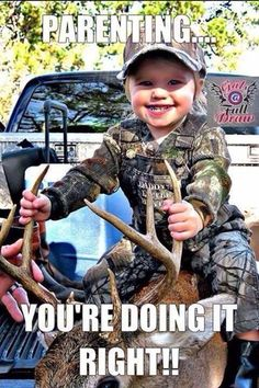 Hunting babies except it should be w/ waterfowl or coons