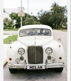White vintage car