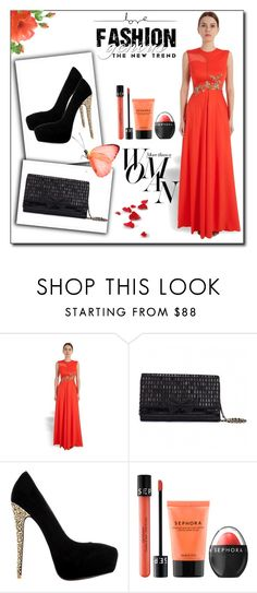 """""""Be the Party Diva in this resplendent @DollyjFashions gown. Pair it with #Janikoshoes and @RucheHues clutch. #ShopAtMayfair"""" by atmayfair ❤ liked on Polyvore featuring Sephora Collection and Sarah Jessica Parker"""