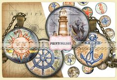 Digital Collage Sheet Printable images for Bottle Cap 1.5inch 18mm 14mm 1inch circle Cabochon images Instant download Nautical images C95
