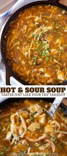 Hot and Sour Soup is the PERFECT combo of spicy and savory made with pork mushrooms bamboo shoots tofu and eggs in a savory seasoned broth with soy sauce and vinegar Authentic Chinese Recipes, Chinese Chicken Recipes, Easy Chinese Recipes, Asian Recipes, Healthy Recipes, Asian Dinner Recipes, Vegetarian Recipes, Asia Food, Spicy Soup