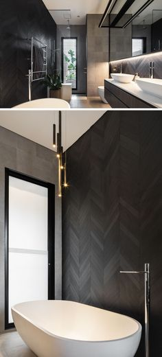 This modern bathroom has a dark chevron patterned wall behind the freestanding b. This modern bathroom has a dark chevron patterned wall behind the freestanding b. Modern Bathroom Design, Bathroom Interior Design, Interior Design Living Room, Bathroom Designs, Bathroom Ideas, Kitchen Design, Bathroom Renovations, Decorating Bathrooms, Bathroom Styling