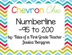 Chevron Chic Number line includes number strips from -95 up to 200.It has the beautiful multi-chevron background and and white background to easily read the numbers. It also includes headers to match:-Number Line-Positive Numbers-Negative NumbersPositive numbers in multiples of 5 have been made red (to match background) to stand out.