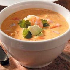 Mexican Shrimp Bisque. Normal ingredients, and the only thing I change is instead of heavy cream, I've used fat free 1/2 & 1/2. A symphony in my mouth!