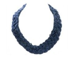Navy blue beaded braided necklace