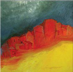 """ Red Village""Prudencio Hernandez - Oleo s/tela - 30 x 30 cm.- 2011 -"