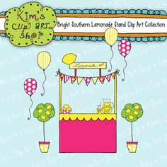 Lemonade Stand Clip Art digital scrapbooking by kimsclipartshop