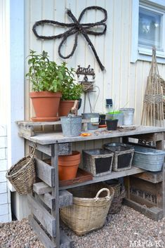 Summer House Garden, Garden Shop, Home And Garden, Back Gardens, Outdoor Gardens, Garden Side Table, Greenhouse Interiors, Potting Sheds, Pallet Shelves