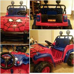 Painted my son's power wheel jeep to be a spider-jeep.