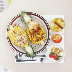 . good morning Thursday :-D))) . #goodmorning #morning #breakfast #yummy #goodfood #instafood #onthetable  #homemade #foodie #foodstagram #igfood #foodphotography #foodphoto #yum #S_S_iloveBreakfast #朝食 #早餐 #goodmorning #早安 #おはようございます #cooking  #咖哩 #curry #stuffedpineapple #カレー #パイナップル #pineapple #花枝豆庫斯庫斯鳳梨咖哩 #couscous #クスクス #庫斯庫斯
