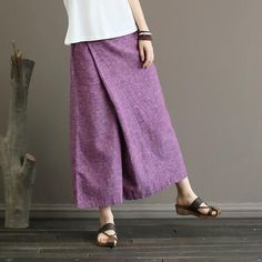 Johnature Solid Color Elastic Mid Waist New Skirt Pants 2018 New Summer Vintage Loose Cotton Linen Ankle-Length Wide Leg Pants Linen Skirt, Cotton Skirt, Linen Pants, Loose Pants, Wide Leg Pants, Boho Jumpsuit, Online Fashion, Pleated Fabric, Pants Pattern