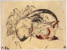 Woodblock print, 'Chickens and Asiatic Dayflowers' by Katsushika Hokusai, Japan, 1832.
