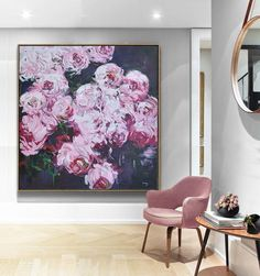 CZ Art Design - Hand painted Large floral Oil Painting on canvas, abstract flower art. @CelineZiangArt