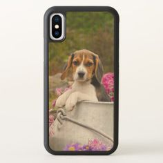 Cute Tricolor Beagle Dog Puppy Pet in a Milk Churn iPhone X Case - baby gifts child new born gift idea diy cyo special unique design