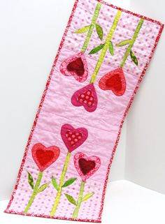 "Valentine's Day table runner- appliqued garden of hearts in red, pink and green ""In the Garden of Hearts"""