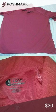 "Izod XFG X-Treme Function Golf Shirt Red Short Sle Izod XFG X-Treme Function Golf Shirt Red Short Sleeve Mens Size XL           Very good, clean condition, COOL-FX. Great find.  Approx measurements laid flat: chest 24"", length 29"". Izod Shirts"