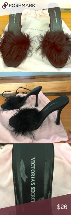 Victoria's Secret black Fuzzy boudoir slippers Good condition black boudoir/bedroom slippers with dust bag included. From a non-smoking home. Vintage and lovely! Victoria's Secret Shoes Heels