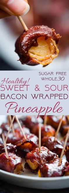 Whole30 Sweet and Sour Bacon Wrapped Pineapple Bites - Salty, sweet and so addicting! An easy healthy and paleo friendly appetizer that you would never believe is gluten/grain/dairy/sugar free and only 35 calories a bite! | Foodfaithfitness.com | @Foodfaithfit | healthy appetizers. paleo appetizers. whole30 appetizers. bacon wrapped water chestnuts. party food. gluten free bacon wrapped pineapple