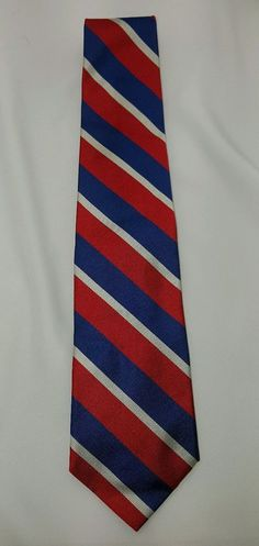 Brooks Brothers Red White and Blue Striped Neck Tie 100% Silk EUC Free Ship #BrooksBrothers #Tie