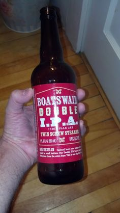Boatswain Douple IPA I got from Trader Joe's in Portsmouth. Lots o' hops, so it had a nice bite to it.