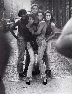 """The Supermodels"", Vogue UK, January 1990  Photographer : Peter Lindbergh  Models : Naomi Campbell, Tatjana Patitz, Linda Evangelista, Christy Turlington & Cindy Crawford"
