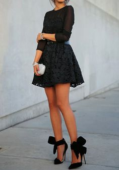Lace Dress & Bow Pumps