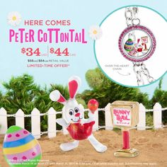 """Just announced! DreamWorks Animation """"Here Comes Peter Cottontail""""  Price: $34 (Value: $68)  Includes: (1) 30"""" Silver Over-the-Heart Chain (1) Medium Silver Twist Over-the-Heart Locket with Pink Crystals (1) Small Rose Aurora Borealis Signature Swarovski Flower Crystal (1) Exclusive! Peter Cottontail Charm (1) Exclusive! Peter Cottontail Green Pattern Egg Charm (1) Exclusive! Peter Cottontail Bunny Trail Sign Charm www.charmingsusie.origamiowl.com"""