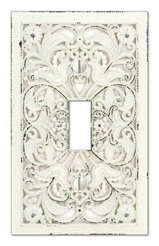 Arabesque White Switch Plate - 1, 2, 3 switch and 2 plug