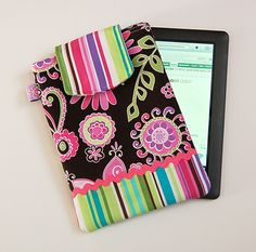 ORCHID BOHO BLOSSOM and BUNGALOW STRIPE - Kindle Fire / Nook / Tablet PC / eReader Sleeve Case Cover