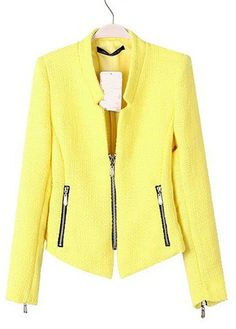 Enchanting Yellow Long Sleeve Woman Suit with Zip | Rosewe.com