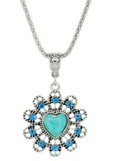 Flower Heart Faux Turquoise Necklace