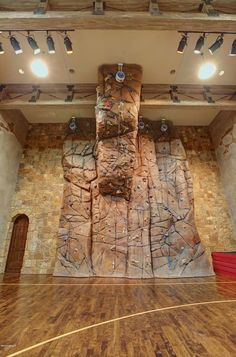 Climbing wall in a indoor basketball court