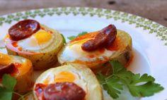 Bocadito de patata con huevo de codorniz y chorizo