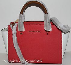 cool MICHAEL KORS Selma Medium Satchel Leather Purse Bag Handbag White Watermelon - For Sale View more at http://shipperscentral.com/wp/product/michael-kors-selma-medium-satchel-leather-purse-bag-handbag-white-watermelon-for-sale/