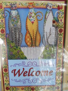 Jim Shore Cats Welcome Banner Jeweled Banner Kit    #4193 Sequins 16 x 24  #DesignWorks