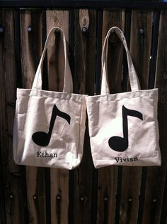 FREE SHIPPING/ Take a Note Tote, canvas, applique, personalized embroidery tote, piano bag,