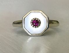 Estate Sterling Silver Mother of Pearl and Rhodolite Garnet Ring Size 9.5 by AdornedInHistory on Etsy
