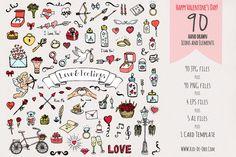 90 Hand drawn Love Elements&Symbols by Rio-de-Oro.com on Creative Market