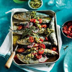 Sardine Veracruz with roasted tomatoes and olive tapenade - MyKitchen Plum Tomatoes, Cherry Tomatoes, Tapenade, Roasted Tomatoes, The Dish, Fresh Herbs, Tray Bakes, Pasta Salad, Seafood