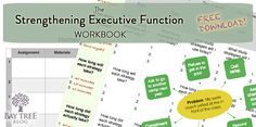 """Free Download: The Strengthening Executive Function Workbook - """"10-page workbook supports planning, time management, and emotional regulation in three activities: 1) Homework: Creating A Daily Plan  2) Emotions: Finding Solutions 3) Tests: Planning For Success"""""""