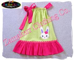 Girl Easter Dress - Easter Bunny Pillowcase Dresses - Easter Baby Girl Clothes 3, 6, 9, 12, 18, 24 month, 2, 2t, 3t, 3, 4, 4t, 5, 6, 7, 8, $34.99
