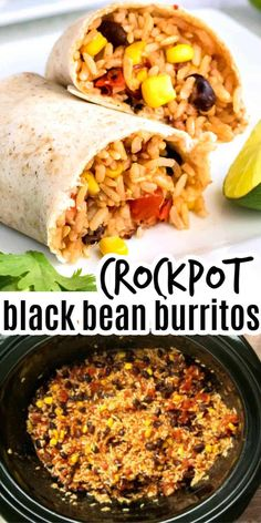 Vegetarian Crockpot Recipes, Mexican Food Recipes, Cooking Recipes, Healthy Recipes, Healthy Black Bean Recipes, Easy Pie Recipes, Vegetarian Rice And Beans Recipe, Vegan Recipes With Black Beans, Slow Cooker Summer Recipes