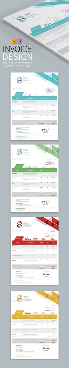 Features of Invoice Template Color Versions A4 \ US Letter Size - create your own invoices