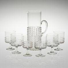 Grappo glasses designed by Nanny Still Glass Jug, Glass Pitchers, Glass Design, Design Art, Compact Living, Lassi, Scandinavian Design, Modern Contemporary, Clear Glass
