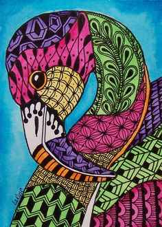 ACEO LE Print Flamingo Doodle Zoo Bird Animal Tropical Zentangle Painting LaRusc